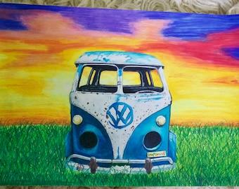 VW Van Prismacolor Drawing