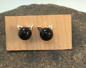 Onyx Kitten Post Earrings