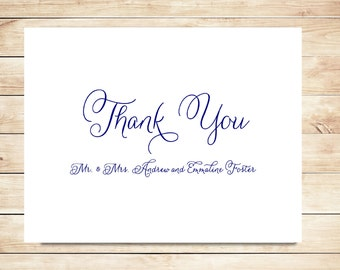 Navy Thank You Cards - Script Stationery - Bride and Groom Stationery, Stationary