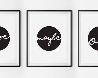 Nope. Maybe. Ok, typography poster, printable quote, wall art, digital prints, scandinavian print
