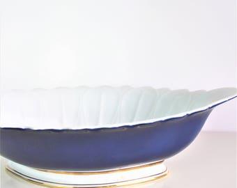 Vintage Porcelain Oval Capeans Porcel Ana Navy Blue Bowl