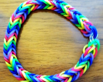 Hot Item.  Fishtail Rainbow Loom Rainbow-Colored Bracelet, Adult or Teen Size