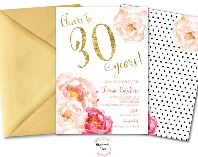 Peony 30th Birthday Invitation // Peonies // Birthday Invitation // Pink // Gold Glitter // Polka Dots // CALABASAS COLLECTION