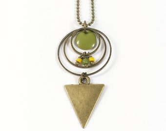 "Long geometric necklace ""Senja"" yellow and khaki ethnic-inspired with triangle and sequin enamel charm"