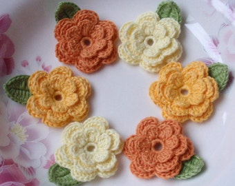 6 Crochet Flowers With Leaves Lt Yellow, Yellow, Old Yellow  YH-014-06