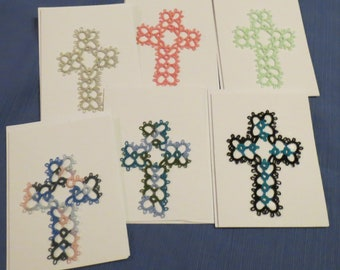 Handmade Tatted Card - Tatted Cross - Set of 6