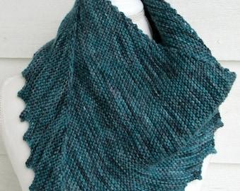 Teal Shawl, handknit shawl, wool/alpaca shawl, knitted wrap