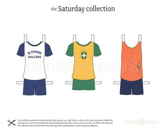 Printable Paper Doll Clothes - Instant Download - Saturday