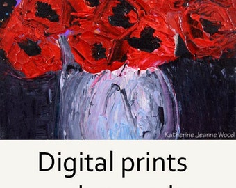 Red Floral Art Painting Print. Red Flowers Print. Art By Katie Jeanne Wall Decor. 55
