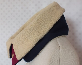 SALE Navy Funnel Neck Scarf Collar, single loop infinity cashmere wool polyester mix and cream faux lambswool fleece poppers burgundy velvet