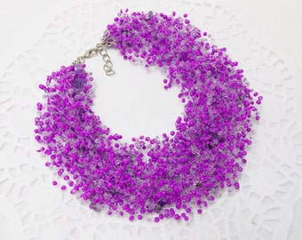 Purple wedding statement necklace designs amethyst necklace for women ultraviolet purple necklace floating illusion necklace purple jewelry
