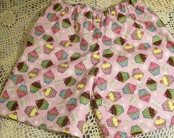 Girl's Flannel Sleep Shorts - Size 8 - Sweet Cupcakes - An Original Lucy Littles Creation 018