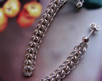 Long Sterling Silver Earrings, Handmade Dangle Chainmaille Earrings, Ear Studs, Post Earrings