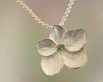 Hydrangea Flower Necklace with Blue Topaz, Sterling Hydrangea Pendant, Silver Flower Necklace, Floral Necklace, Made to Order