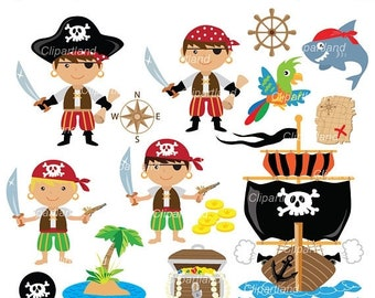 ON SALE INSTANT Download. Cp_20_Pirates. Pirate boy clip art. Personal and commercial use.