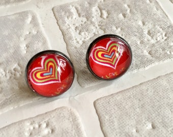 Cabochon button | Button earrings | Stud earrings | pierced ears | Unique gift ideas | Made in the UK | UK Shop