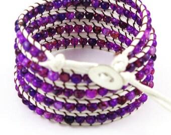 purple bracelet beaded bracelet wrap bracelet cuff bracelet boho jewelry beaded wrap bracelet gift for her women jewelry
