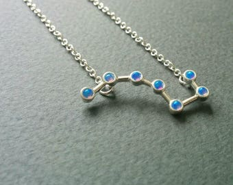 Aurora borealis. Dainty big dipper necklace with natural opal.
