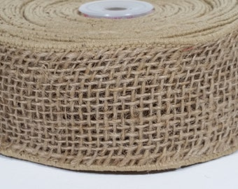 "2"" Wired Jute Burlap Ribbon - Natural - 10 Yards"