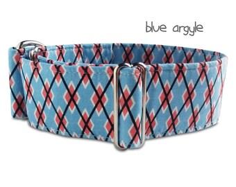 "boy dog collar *blue argyle*, coral, plaid, boy martingale, brass hardware, custom, martingale, buckle collar; 1""- 2"" wide; greyhound collar"