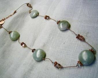 Vintage Alexis K Jade & Crystal Necklace