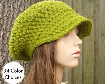Lemongrass Green Newsboy Hat Womens Hat - Crochet Newsboy Hat Green Crochet Hat - Green Hat Green Beanie - 34 Color Choices