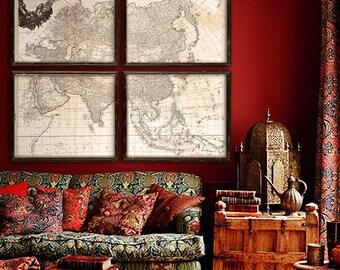 """Map of Asia 1794, Vintage Asia map, 5 sizes up to 48x40"""" (120x100cm) in 1 or 4 parts, XL historical map of Asia - Limited Edition of 100"""