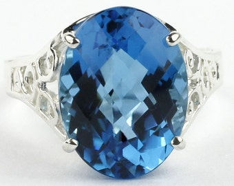 Swiss Blue Topaz, 925 Sterling Silver Ladies Ring, SR049