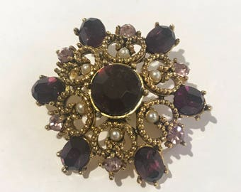 Vintage Brooch - Cosume Jewellery - Gold, Purple and Pearl