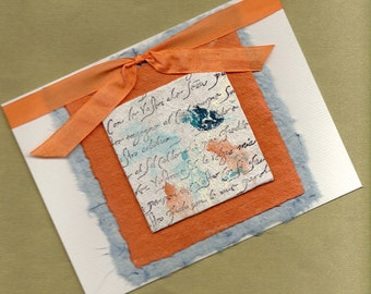 Cheerful Orange and Blue All Occasion Handmade Greeting Card PSS 1298
