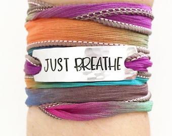 Just Breathe, Wrap Bracelet, Yoga, Yoga Jewelry, Yoga Bracelet, Yoga Wrap Bracelet, Hippie Jewelry, Boho Jewelry, Bohemian Jewelry