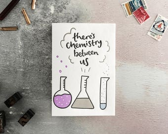 There's Chemistry Between Us Letterpress Card - Valentines Card, Love Card