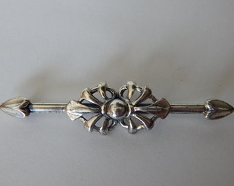 NAPIER Sterling Silver Bar Pin Brooch - Hearts & Flourishes