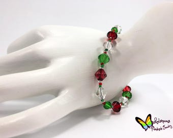 Red Green and Crystal Glass Beaded Bracelet Christmas Bracelet Holiday Bracelet Festive Bracelet Beaded Christmas Bracelet Bracelet gift