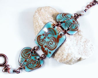 Enamel bracelet aqua and brown torched artisan hand crafted
