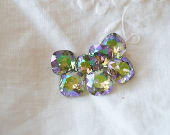 2 pieces 4470 Paradise Shine 12mm Swarovski Crystal Square Cushion Cut
