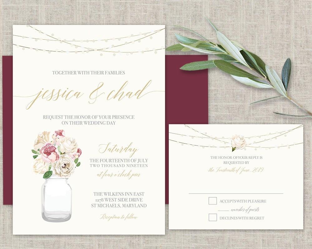 Mason Jar Wedding Invitation Printable Set Blush Gold Peony