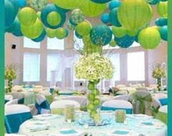 """Pkg of 10 - 12"""" Paper Lantern for Wedding or Special Occasion Greens & Blues"""