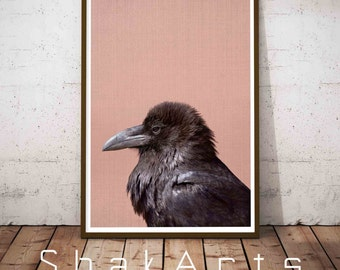 Crow Print, Crow Nursery, Woodland Nursery, Nursery Art Print, Farm Nursery, Pink Decor, Woodlands Decor, Bird Wall Art, Raven Print