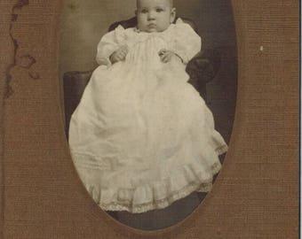 Antique Baby Photo Dorothy Emmet Card Mounted Samuel Hirst Photographer Kansas