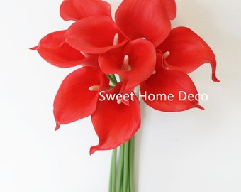 """JennysFlowerShop 15"""" Latex Real Touch Artificial Calla Lily 10 Stems Flower Bouquet for Wedding/ Home Red"""