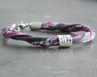 """Bracelt Liberty / suede """"Tenderness"""" stainless steel and metal"""