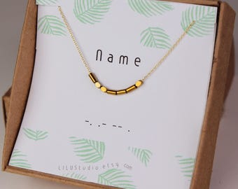 Name necklace, personalized necklace, gold, Morse code necklace, secret message necklace, best friend gift, gold delicate necklace, gift