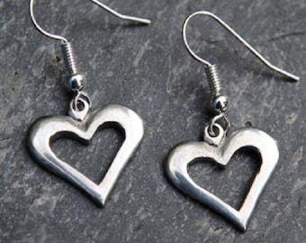 Pierced Heart Pewter Earrings