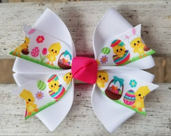 Easter Chicks Hair Bow (4 inch)