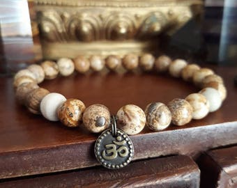 Mens Om Bracelet - Picture Jasper Bracelet with Tulsi Wood Mala Bead, Mens Bracelet with Brass Charm, White and Brown Stone for Grounding