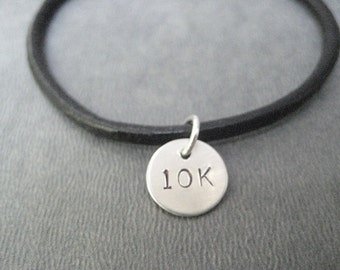 10K Bracelet - Sterling Silver Charm on Leather with Sterling Silver Plated Clasp - 10K Road Race Bracelet - Leather Runner Jewelry - Runner