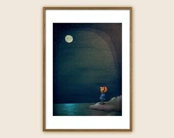 "Art Print - Children's Illustration - ""Moon Gazing"""