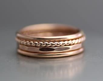 Twisted Rose Gold Stack Rings, Womens Set Of 4 Stacking Rings, Rose Gold Ring, Gold Band, Gold Filled, Wedding Ring, Hammered Band