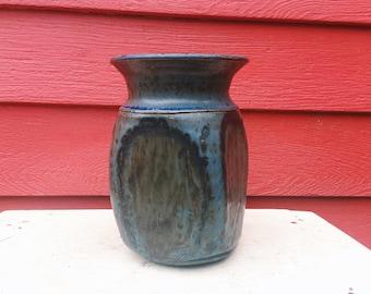 Blue Asymmetrical Four Panel Stoneware Vase with Brown Tones